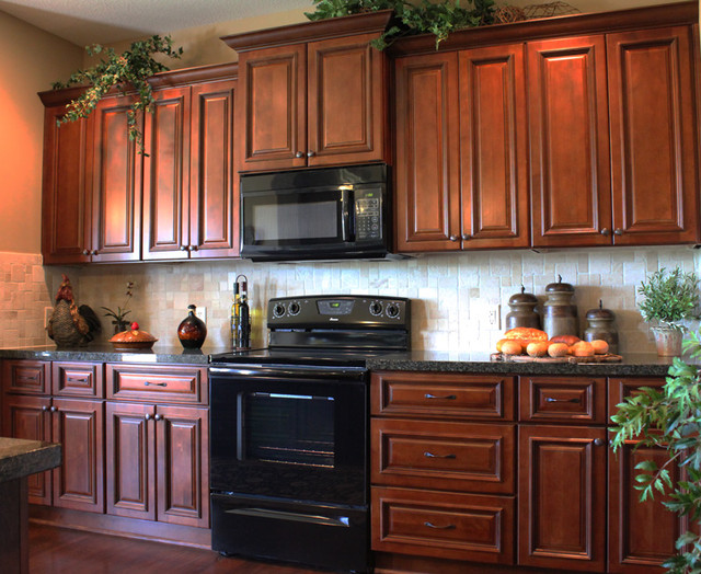Brindleton maple kitchen cabinets traditional kansas for Traditional kitchen dresser