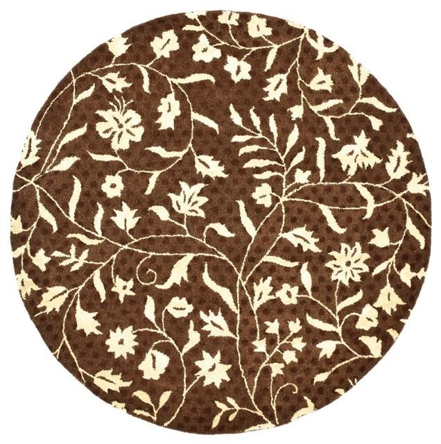 Contemporary soho round 6 39 round brown ivory area rug for Round contemporary area rugs