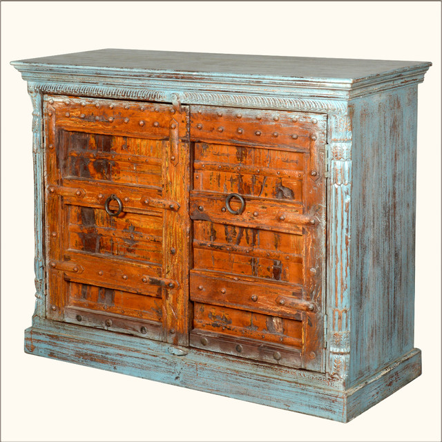 Rustic White Washed Reclaimed Wood Buffet Sideboard