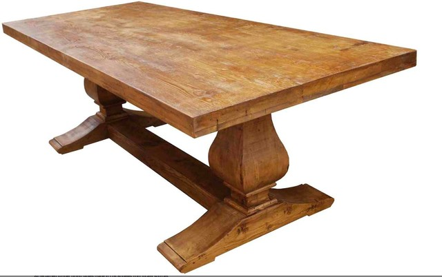 Custom Segovia Reclaimed Wood Trestle Dining Table - mediterranean