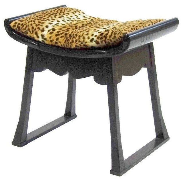 Pre Owned Japanese Ebonized Stool With Leopard Print