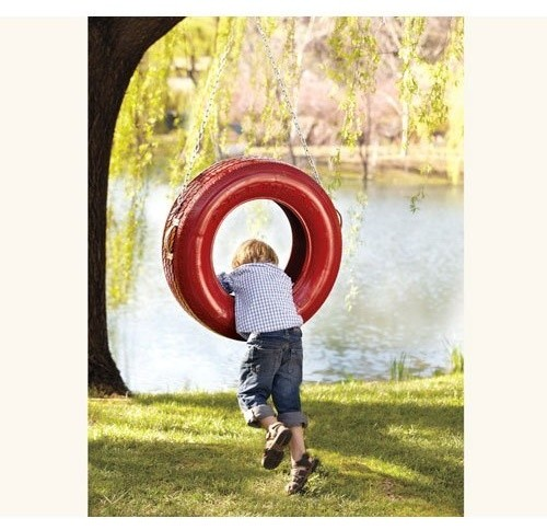 Triple-Play Recycled Tire Swing, Red traditional outdoor swingsets