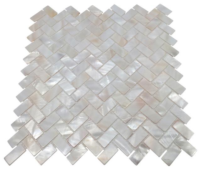 Mother Of Pearl Herringbone Oyster White Backsplash Mosaic