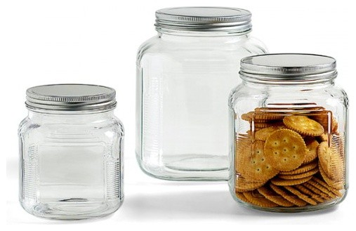 Glass Jars with Aluminum Lids traditional food containers and storage