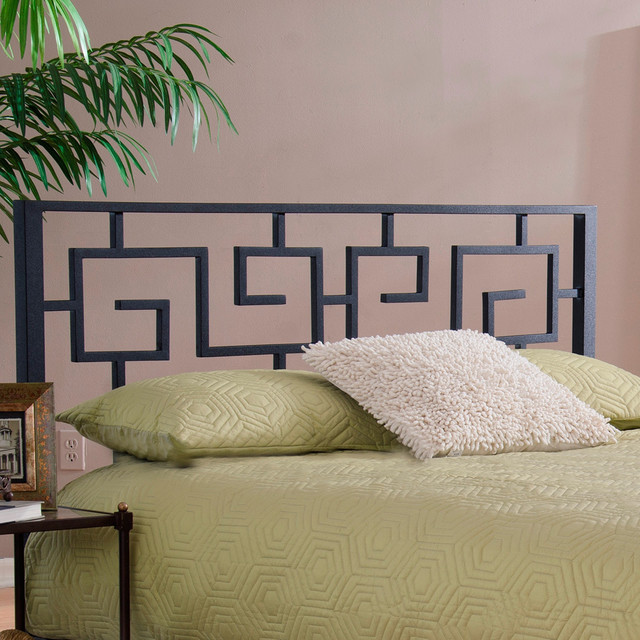 Black Greek Key Metal Headboard - Contemporary ...