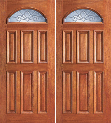Mahogany fan lite exterior double door insulated beveled for Insulated double doors
