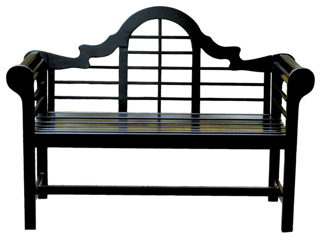 Lacquer Lutyen Outdoor Wooden Bench In Black Contemporary Outdoor Benches Other Metro By