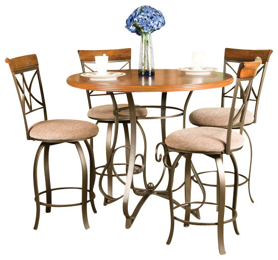 Transitional Dining Room Furniture: Powell Furniture Hamilton 5 Piece Dining Set In Medium