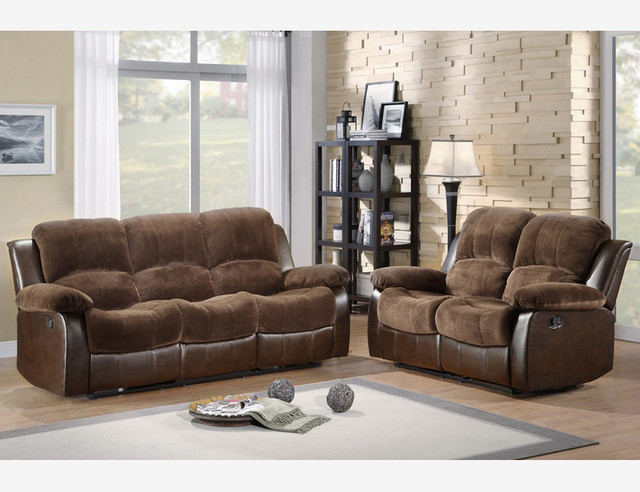 Brown Microfiber Leather Reclining Sofa Couch Loveseat