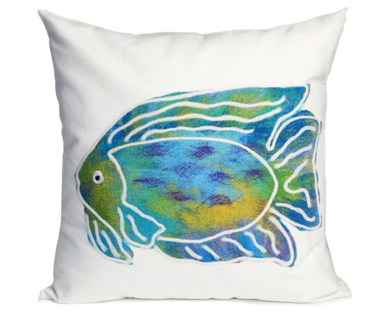 """Trans-Ocean Outdoor Pillows - Trans-Ocean Liora Manne Batik Fish Aqua - 20"""" x 20"""" - Designer Liora Manne's newest line of toss pillows are made using a unique, patented Lamontage process combining handmade artistry with high tech processing. The 100% polyester microfibers are intricately structured by hand and then mechanically interlocked by needle-punching to create non-woven textiles that resemble felt. The 100% polyester microfiber results in an extra-soft hand with unsurpassed durability."""