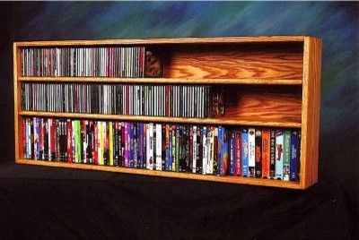 Solid Oak Wall / Shelf Mount for CD / DVD / VHS Tape Media Cabinet ...