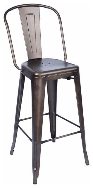 Dreux rustic matte steel bar chair 30 set of 4 for Cheap bar stools set of 4