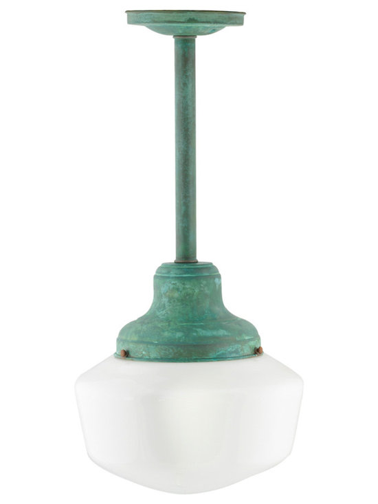 Patina Schoolhouse Pendant - This Victorian inspired, American manufactured schoolhouse light features an opal glass globe affixed to a stem with a unique antique patina finish.