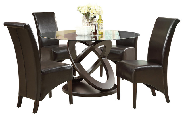 Monarch specialties 1749 1776br 5 piece round dining room for Traditional round dining room sets