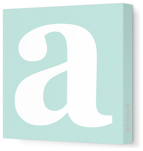 "Letter - Lower Case 'a' Stretched Wall Art, 18"" x 18"", Sea Green contemporary-artwork"