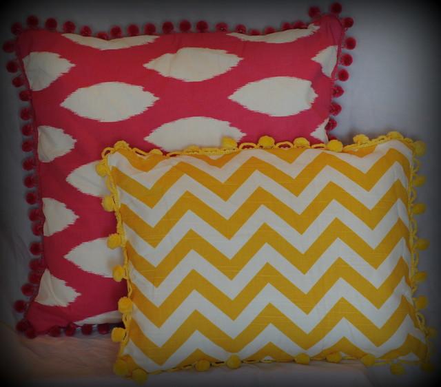 Yellow Chevron Pillow with Trim modern-pillows