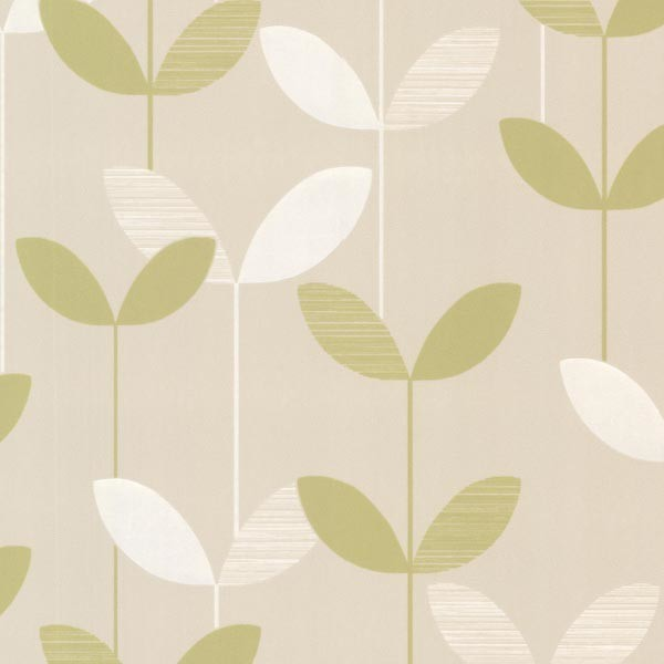 Ernst Light Green Linear Leaf Wallpaper Swatch