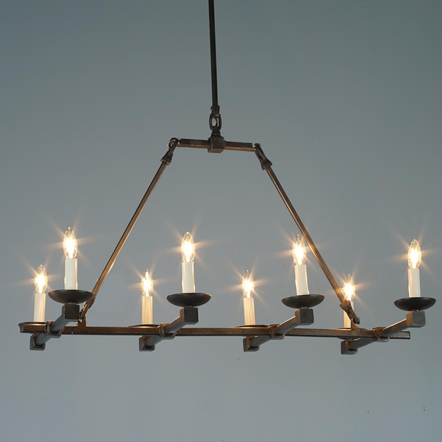 Forged Iron Cross-bar Island Chandelier - Chandeliers - by Shades of Light