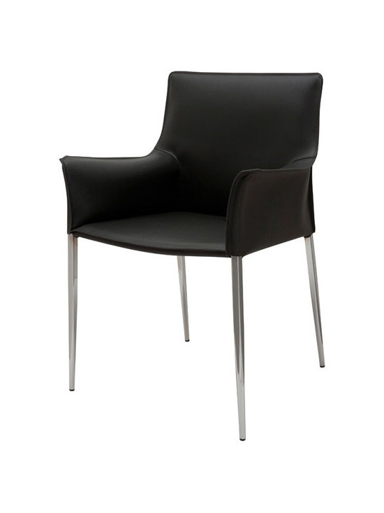 Nuevo Colter Dining Chair - Nuevo Colter Armchair completes the Colter dining chair set. Colter chair from Nuevo Living is an upholstered chair with a steel frame and chrome legs. Also available without arms.