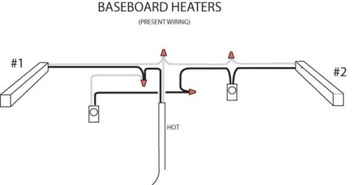 Wiring Diagram 2 Baseboard Heaters 1 Thermostat : Baseboard heater wiring
