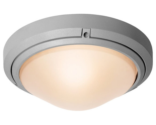 "Access - Oceanus Satin Nickel Outdoor Ceiling or Wall Light - In a beautiful satin nickel finish paired with frosted glass this clean fixture can be mounted on walls or ceilings. It is wet location approved and energy efficient. Marine grade satin nickel finish. Frosted glass. Takes one 60 watt bulb (not included). CETL Wet Location approved. ADA compliant. 10 1/2"" wide. Extends 4"".  Marine grade satin nickel finish.   Frosted glass.   Takes one 60 watt bulb (not included).   CETL Wet Location approved.   Damp location rated only.  ADA compliant.   10 1/2"" wide.   Extends 4""."