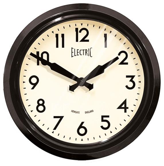 Newgate - 50's Electric Wall Clock in Black Aluminum modern-wall-clocks