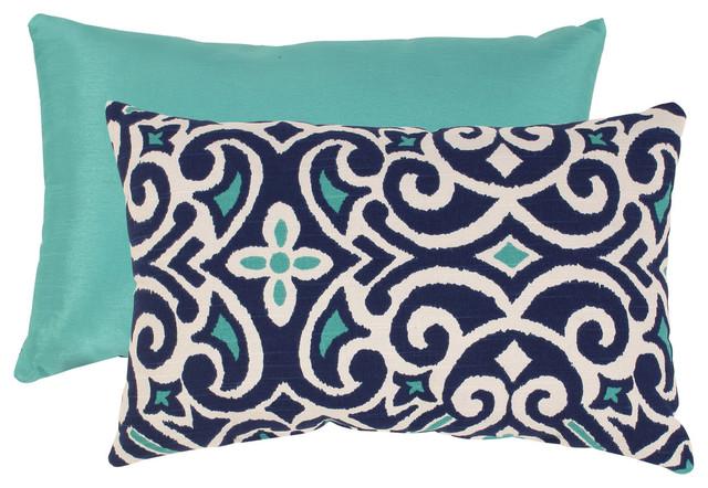 Blue/ White Damask Rectangular Throw Pillow contemporary-decorative-pillows