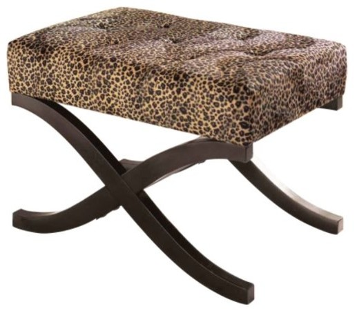 Leopard Animal Print Accent Stool Eclectic Footstools