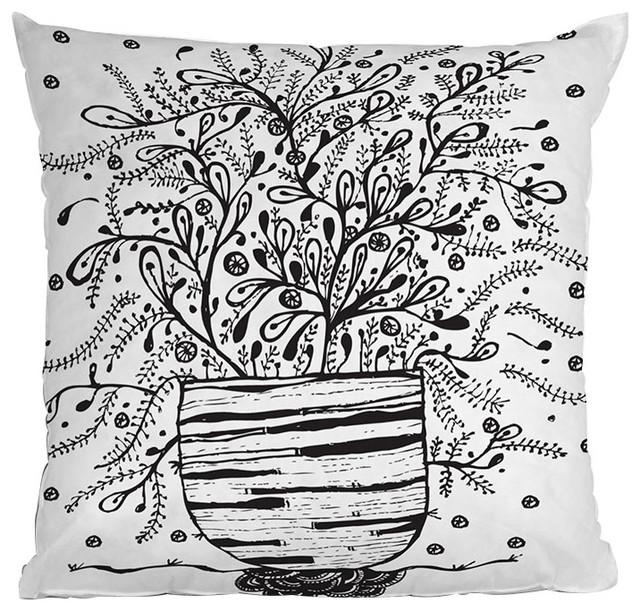 DENY Designs Julia Da Rocha Bouquet Of Flowers Spring Throw Pillow contemporary-decorative-pillows