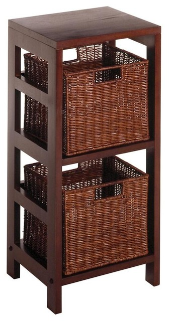 Beachwood Storage Unit w Two Rattan Baskets contemporary-baskets