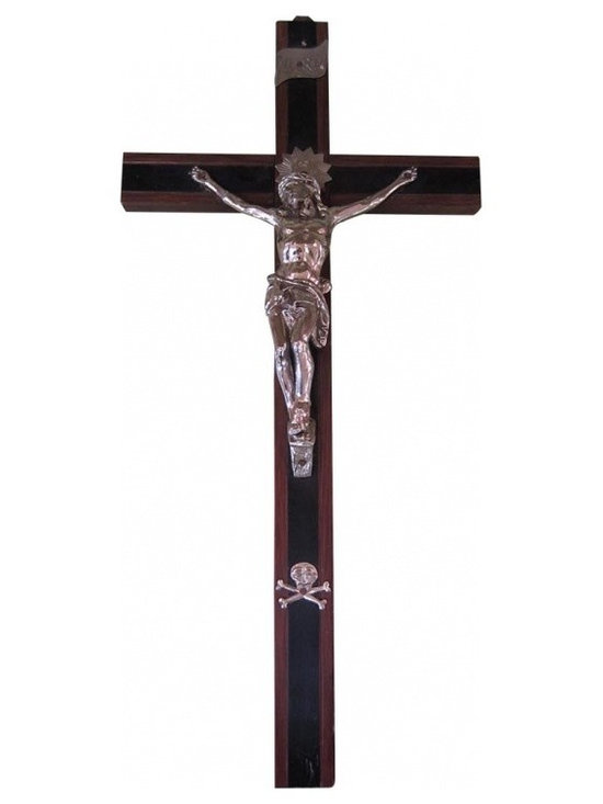 "French Ebonized Crucifix with Polished Silver Accents - This delicate French ebonized crucifix is layered with polished silvertone Christo figure, ""Inri"" placque and skull & bones. The contrast of the dark woodtones and the gleam of the metal are striking. This crucifix is suitable for hanging on the wall or grouping on a tabletop or bookshelf with other crucifixes, books, pictures frames and home accents."