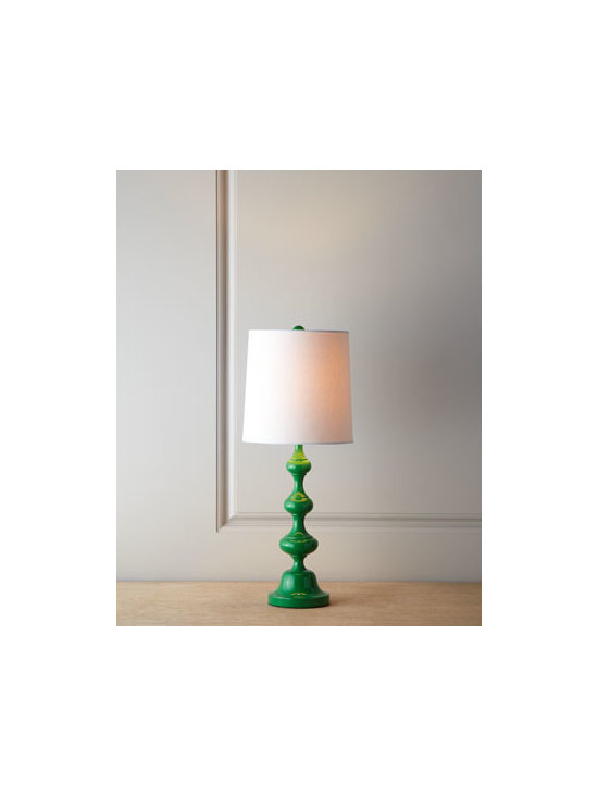 "Horchow - Glossy Green Lamp - Exclusively ours. Brightly hued, slender lamp with a furniture-turned base and a tall, narrow shade is ideal for adding both light and color to narrower spaces. Made of resin. Linen shade. Uses one 100-watt bulb. 9""Dia. x 22.5""T. Imported."