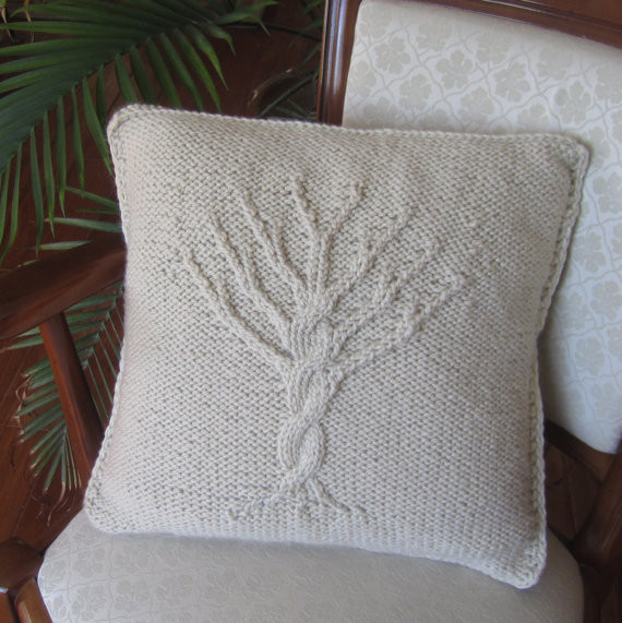 Modern Knitted Pillow : Tree of Life Hand Knit Pillow Cover by Ladyship Designs - Modern - Decorative Pillows - by Etsy