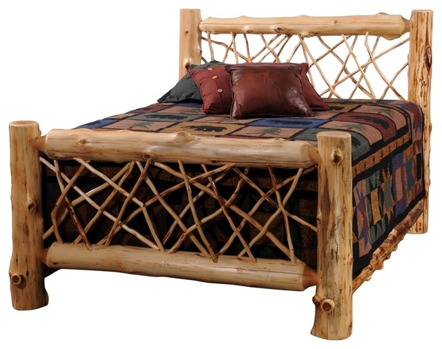 Cedar twig style complete log panel bed sing Log style beds