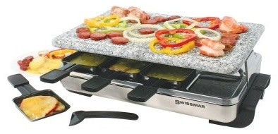 Swissmar Stelvio Raclette 8 Person Party Grill - Granite Stone and Stainless Ste modern-electric-grills