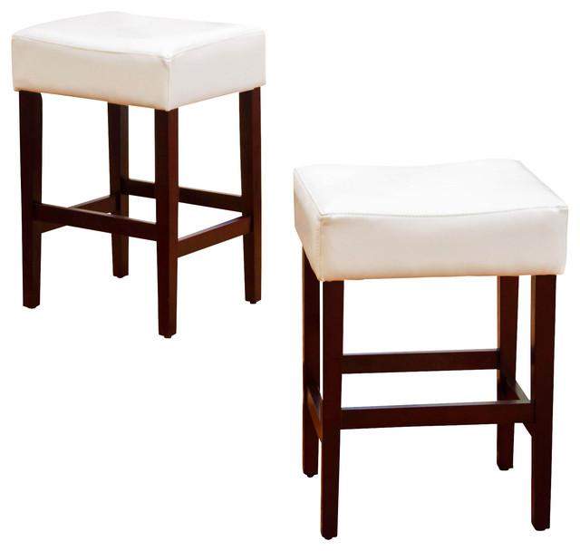 Malachi Leather Backless Counter Stools Set Of 2 Ivory