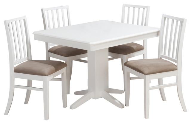 Jofran Aspen White 5 Piece 44x36 Dining Room Set Contemporary Dining Sets