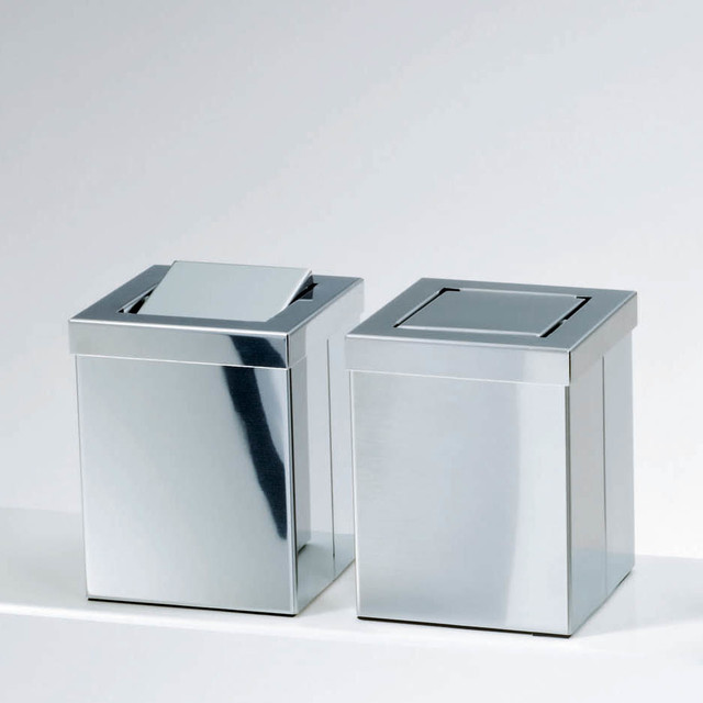 Harmony stainless steel waste basket with revolving cover contemporary wastebaskets by - Covered wastebasket ...