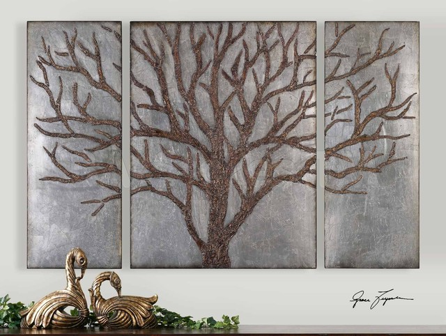 Rustic Tree Wall Decor : Winter view rustic tree wall art set of