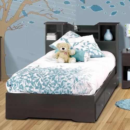 Pocono Bed With Bookcase Headboard In Espresso Laminate Modern Kids