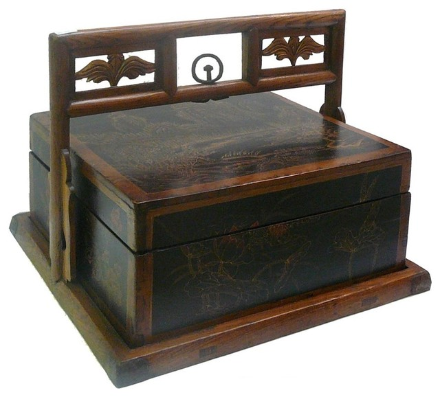 Chinese Oriental Scenery Square Wood Basket Box Asian