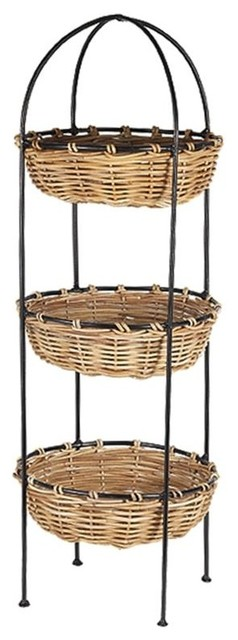 3 tier round rattan basket display stand in n for Wicker stands bathrooms