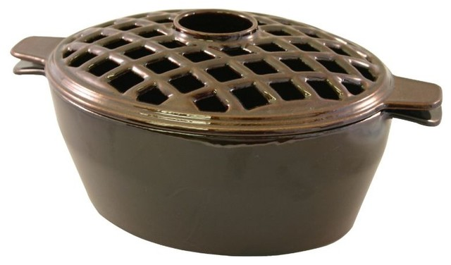 Small Lattice Steamer, Brown Majolica traditional-fireplace-accessories