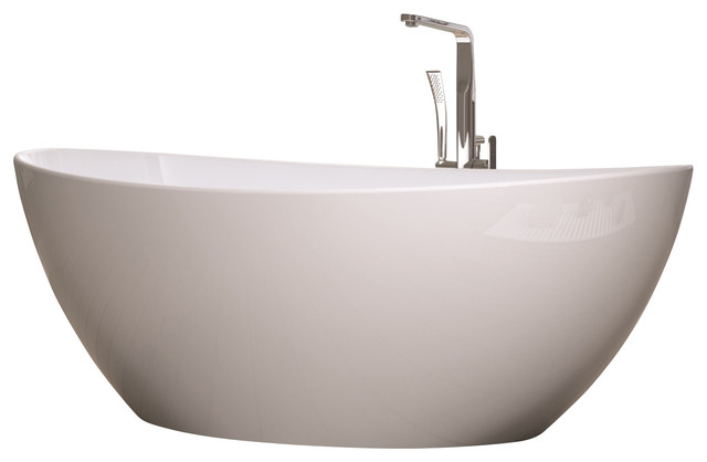 White Stand-Alone Stone Resin Bathtub, Matte - Modern - Bathtubs - by ...