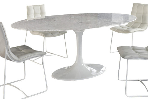 Oval Blommis Marble Top Dining Table White Contemporary Dining Tables