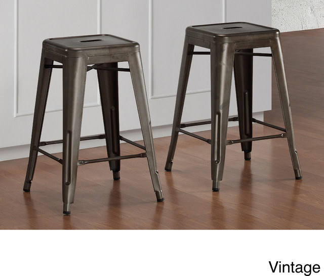 Tabouret 24 inch Vintage and Gunmetal Counter Stool Set  : industrial bar stools and counter stools from www.houzz.com size 640 x 546 jpeg 71kB