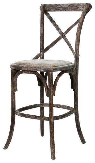 Parisienne Cafe Counter Stool - Limed Charcoal traditional-bar-stools-and-counter-stools
