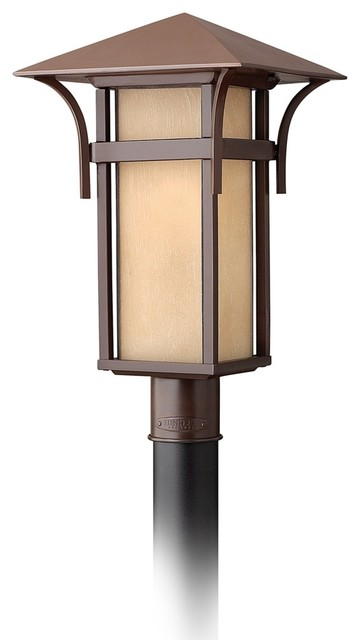 """Arts and Crafts - Mission Hinkley Harbor Collection 19 1/2"""" High Post Mount Ligh modern-outdoor-lighting"""