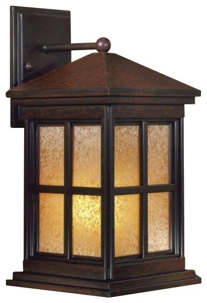 "Arts and Crafts - Mission Berkeley 16 1/2"" High Solid Brass Outdoor Wall Li traditional outdoor lighting"