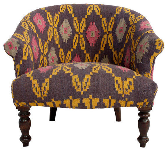 Multi Kilim Arm Chair eclectic-accent-chairs